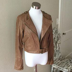 Rachel Zoe Cropped Leather Willa Jacket Size 8